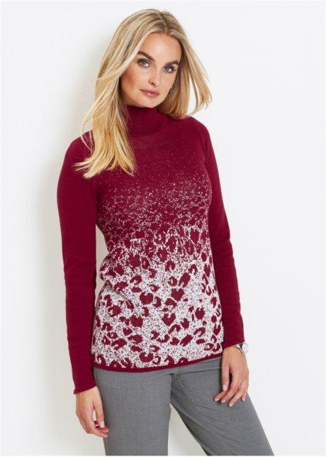 Пуловер-водолазка с жаккардовым узором