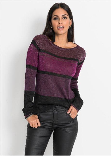 Пуловер дизайна в полоску с люрексом